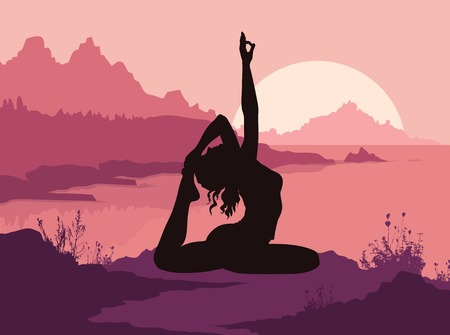 Silhouette of woman doing yoga in mountains. Vector illustration Vector