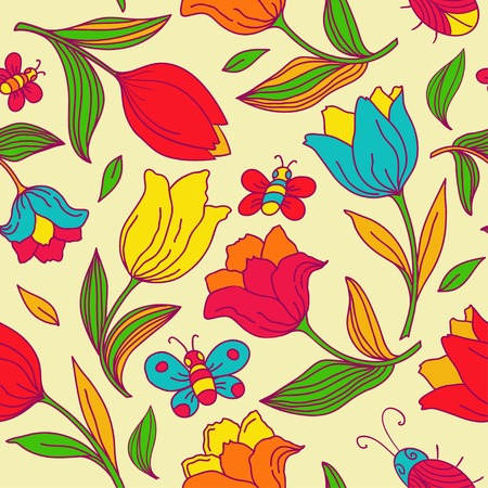 Seamless floral pattern with butterflies, bees and tulips.