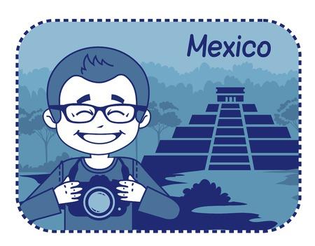 teaser: Teaser con il fotografo viaggia attraverso il Messico. Uomo su sfondo di piramidi Maya