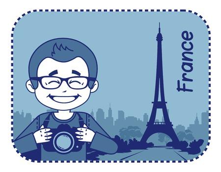 teaser: Teaser con il fotografo viaggia attraverso la Francia. L'uomo su sfondo della Torre Eiffel a Parigi