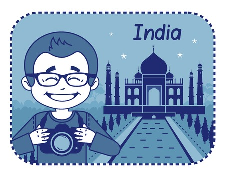 teaser: Teaser con il fotografo viaggia attraverso l'India. L'uomo sullo sfondo del Taj Mahal in India