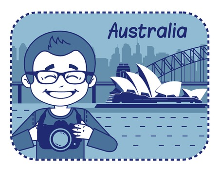 teaser: Teaser with photographer travels through Australia. Man on background of Sydney Opera House Illustration