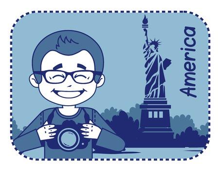 teaser: Teaser con il fotografo viaggia attraverso l'America. L'uomo sullo sfondo della statua della libert� a New York
