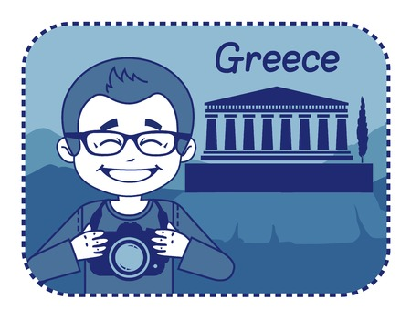 teaser: Teaser with photographer travels through Greece. Man on background of acropolis of Athens