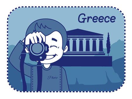 teaser: Teaser con il fotografo viaggia attraverso la Grecia. Uomo su sfondo di acropoli di Atene Vettoriali