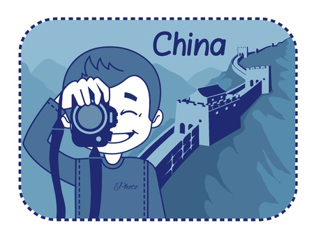 teaser: Teaser with photographer travels through China. Man on background of Great Wall of China