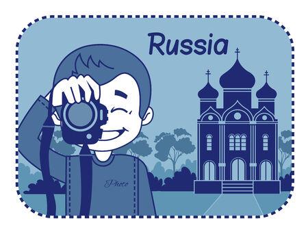 rejoicing: Teaser con il fotografo viaggia attraverso la Russia. Uomo su sfondo della chiesa ortodossa