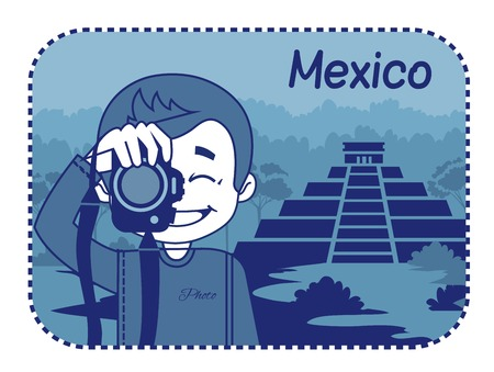 chichen: Teaser with photographer travels through Mexico. Man on background of Mayan pyramids