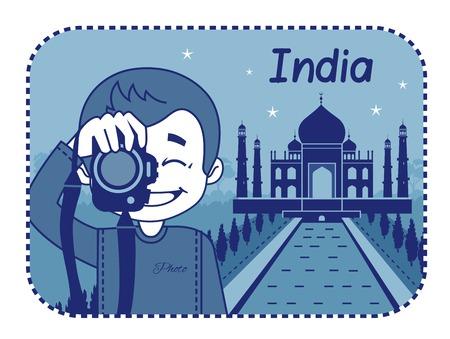 teaser: Teaser con il fotografo viaggia attraverso l'India. L'uomo su sfondo di Taj Mahal in India Vettoriali