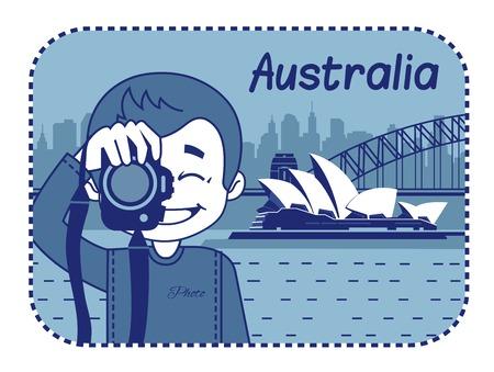 teaser: Teaser con il fotografo viaggia attraverso l'Australia. Uomo su sfondo di Sydney Opera House