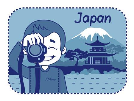 teaser: Teaser con il fotografo viaggia attraverso il Giappone. Uomo su sfondo di pagoda e il Monte Fuji