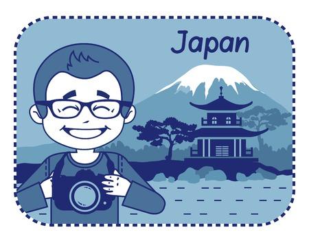 simbol: Teaser con il fotografo viaggia attraverso il Giappone. Uomo su sfondo di pagoda e il Monte Fuji