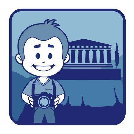 rejoicing: Teaser con il fotografo viaggia attraverso la Grecia. Uomo su sfondo di acropoli di Atene Vettoriali