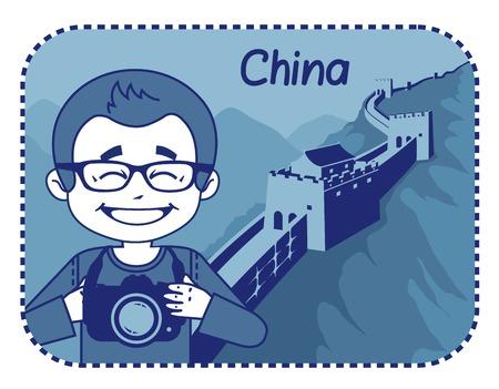 teaser: Teaser con il fotografo viaggia attraverso la Cina. L'uomo su sfondo di Great Wall of China Vettoriali