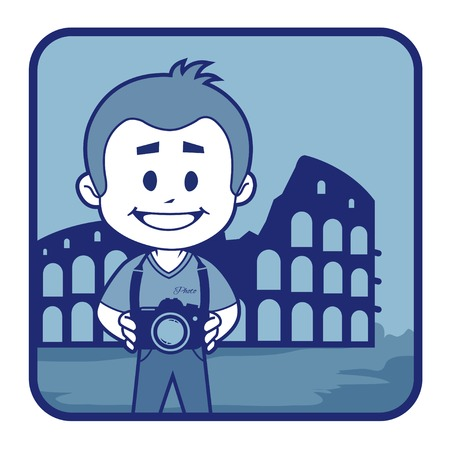 teaser: Teaser with photographer travels through Italy. Man on background of Colosseum in Rome Illustration