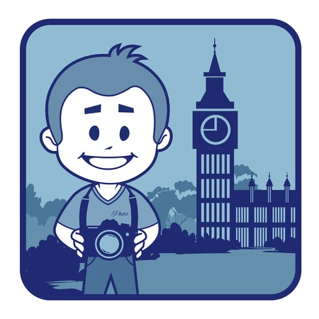 palace of westminster: Teaser with photographer travels through England. Man on background of Big Ben in London Illustration