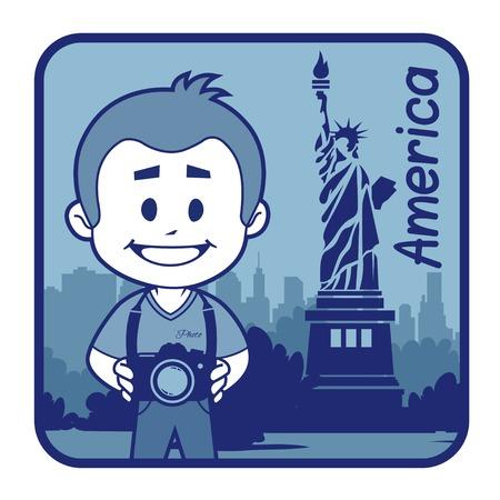 teaser: Teaser con il fotografo viaggia attraverso l'America. L'uomo su sfondo della statua della libert� a New York
