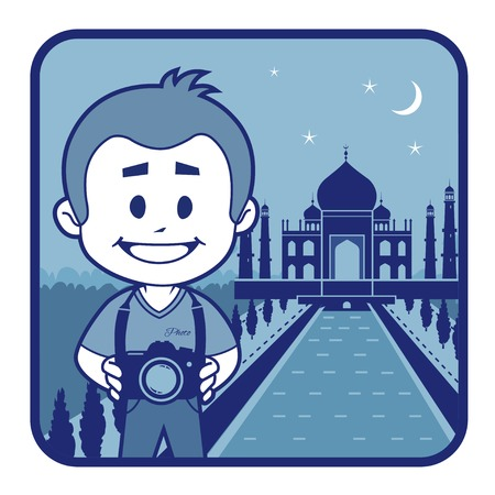 agra: Teaser with photographer travels through India. Man on background of Taj Mahal in India