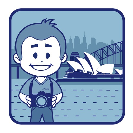 Teaser with photographer travels through Australia. Man on background of Sydney Opera House Vector