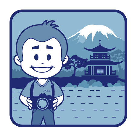 Teaser with photographer travels through Japan. Man on background of pagoda and Mount Fuji Vector