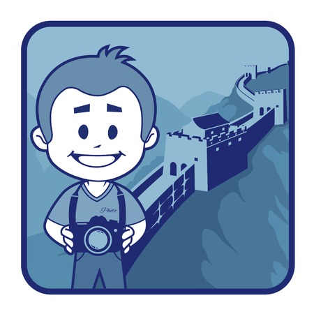 Teaser with photographer travels through China. Man on background of Great Wall of China Vector