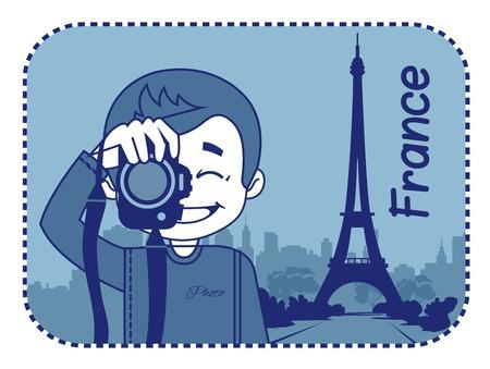 teaser: Teaser con il fotografo viaggia attraverso la Francia. L'uomo sullo sfondo della Torre Eiffel a Parigi