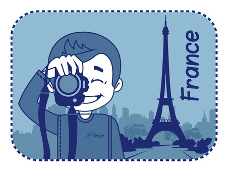 teaser: Teaser with photographer travels through France. Man on background of Eiffel Tower in Paris Illustration