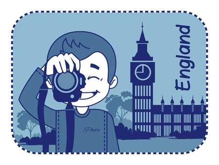 teaser: Teaser with photographer travels through England. Man on background of Big Ben in London Illustration