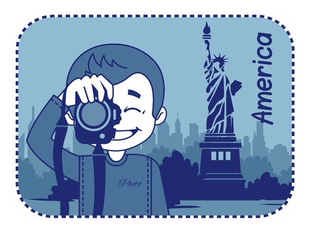 teaser: Teaser with photographer travels through America. Man on background of statue of Liberty in New York