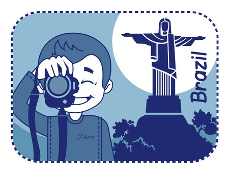 teaser: Teaser with photographer travels through Brazil. Man on background of Christ the Redeemer Illustration