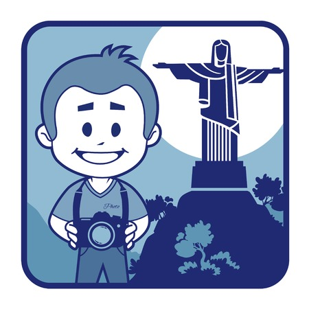 Teaser with photographer travels through Brazil. Man on background of Christ the Redeemer Illustration