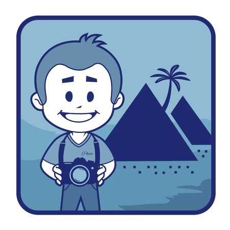 teaser: Teaser con il fotografo viaggia attraverso l'Egitto. Uomo su sfondo di piramidi egiziane