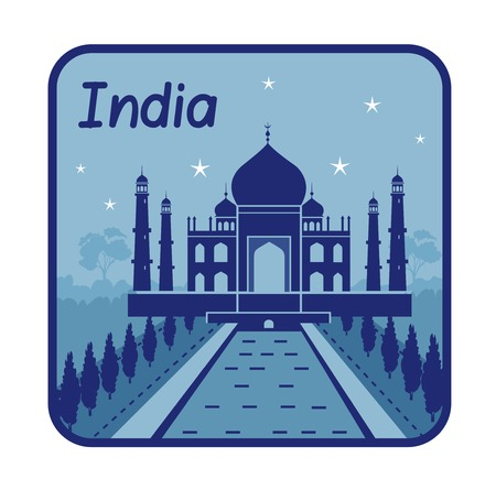 Vector illustration with Taj Mahal in India