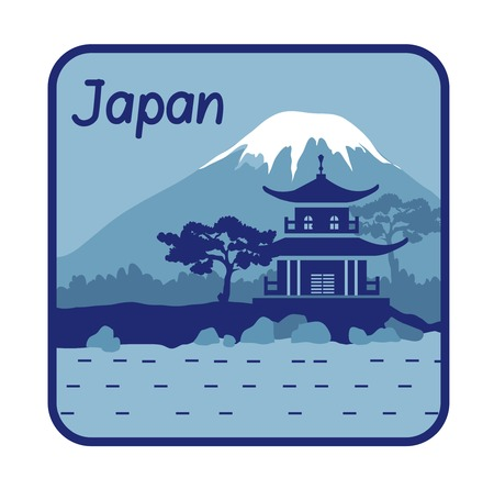 Vector illustration with pagoda and Mount Fuji in Japan