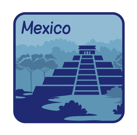 chichen: Vector illustration with Mayan pyramids in Mexico