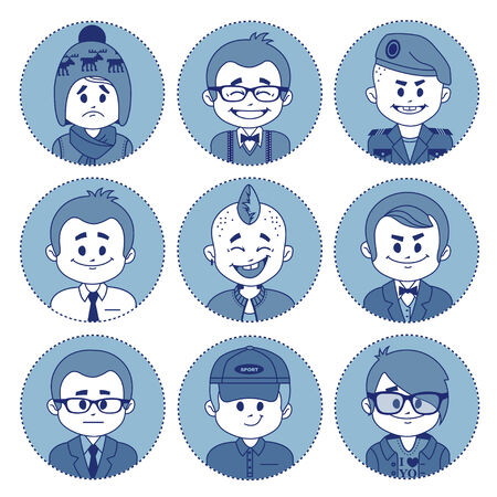 showman: Set icons with characters on blue background. Different professions . Vector illustration