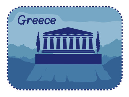 the acropolis: Vector illustration with acropolis of Athens in Greece