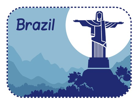 corcovado: Vector illustration with Christ the Redeemer in Brazil Illustration