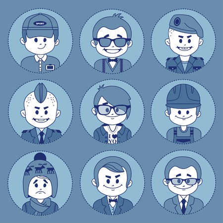 taxman: Set icons with characters on blue background. Different professions . Vector illustration