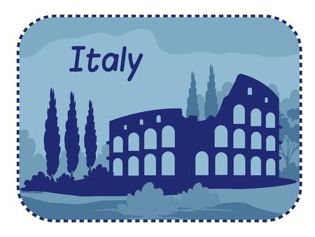 zypresse: Illustration mit Kolosseum in Rom. Vektor-Illustration