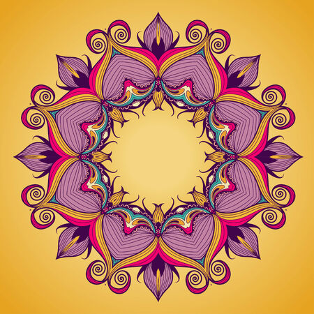 Lacy arabesque designs. Round oriental ornament for greeting card.