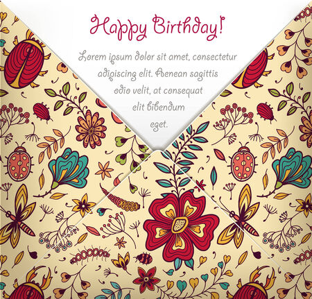 Happy Birthday card with colorful floral pattern. Vector