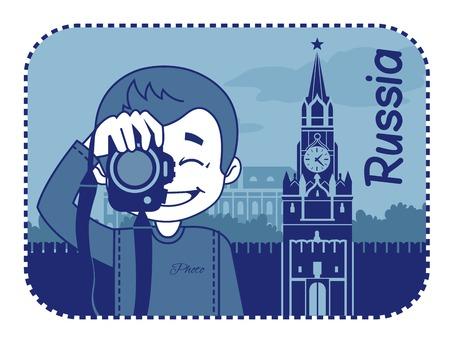 teaser: Teaser con il fotografo viaggia attraverso la Russia. L'uomo su sfondo del Cremlino di Mosca Vettoriali