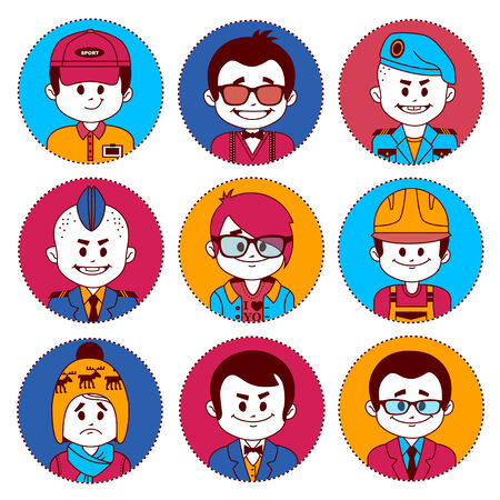military beret: Set icons with characters on white background. Different professions .