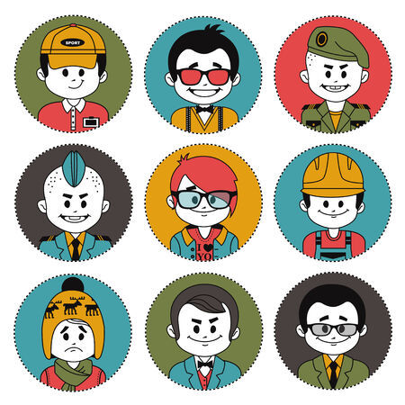 career coach: Set icons with characters on white background. Different professions .