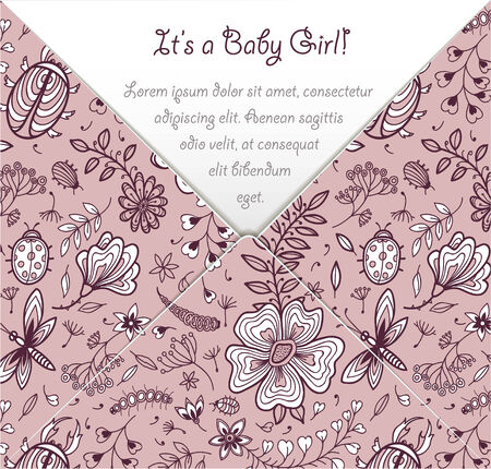 Its a baby girl card with pink floral pattern. Vector