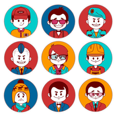 Set icons with characters on white background. Different professions .