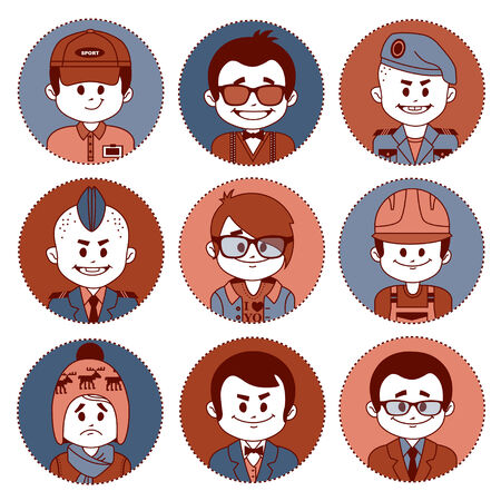 economist: Set icons with characters on white background. Different professions .
