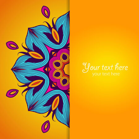 Template of greeting card with flower. Illustration