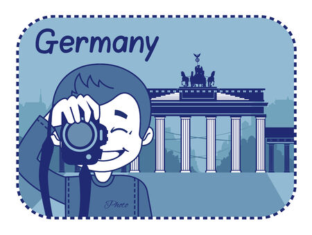 Illustration with Brandenburg Gate in Germany Vector